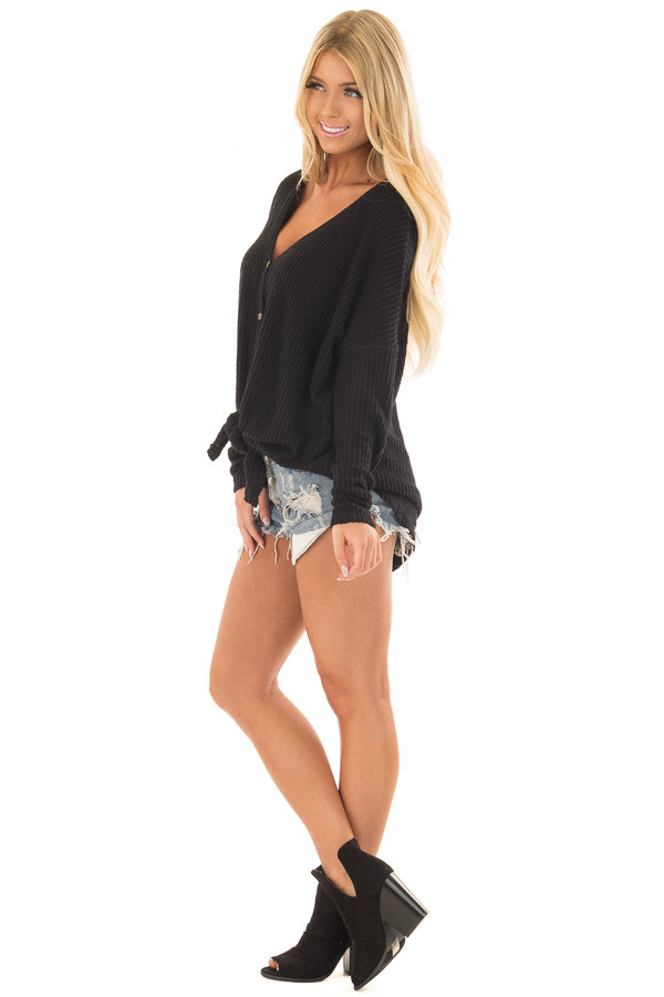 Black Waffle Knit Button Up Long Sleeve Top side full body