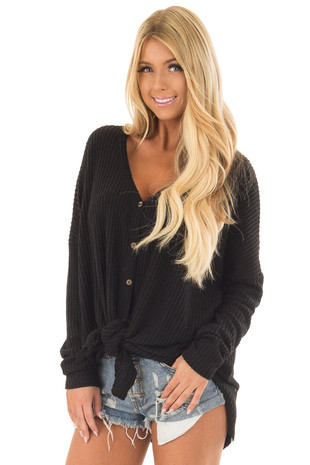 Black Waffle Knit Button Up Long Sleeve Top front close up