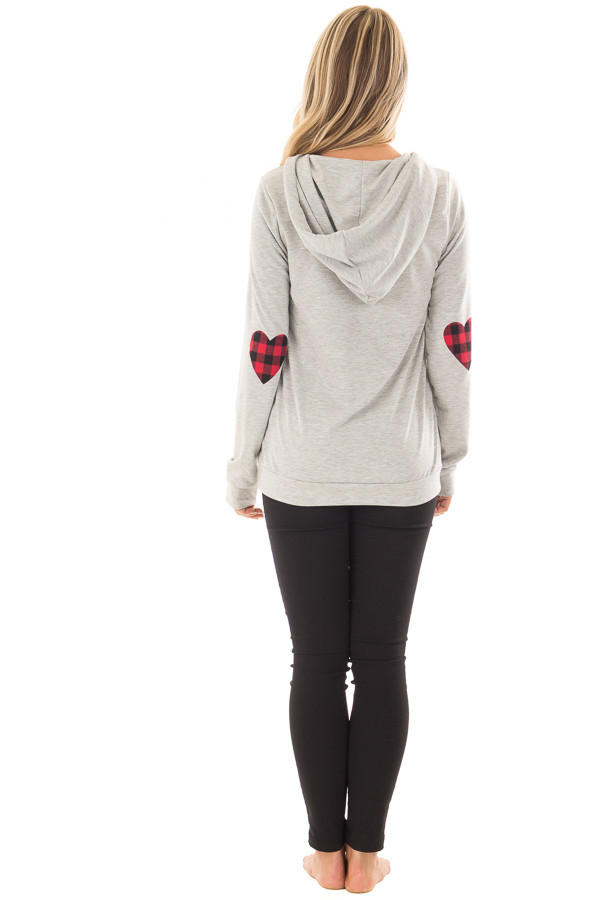 Heather Grey Hoodie with Red Plaid Heart Elbow Patches back full body