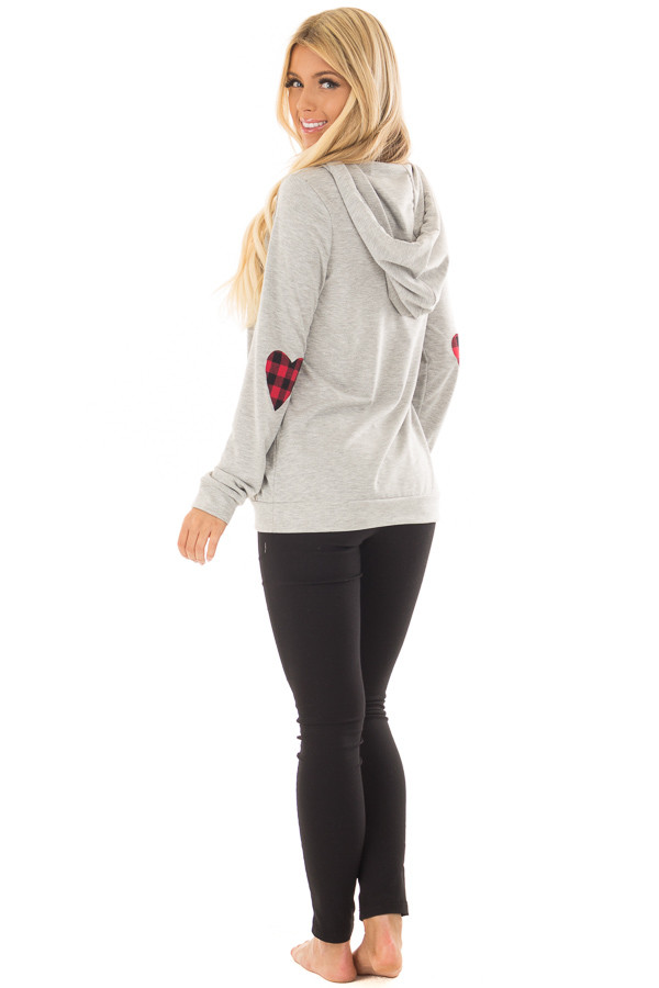 Heather Grey Hoodie with Red Plaid Heart Elbow Patches back side full body