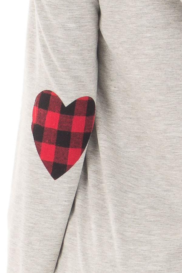 Heather Grey Hoodie with Red Plaid Heart Elbow Patches detail