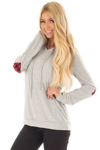 Heather Grey Hoodie with Red Plaid Heart Elbow Patches front close up