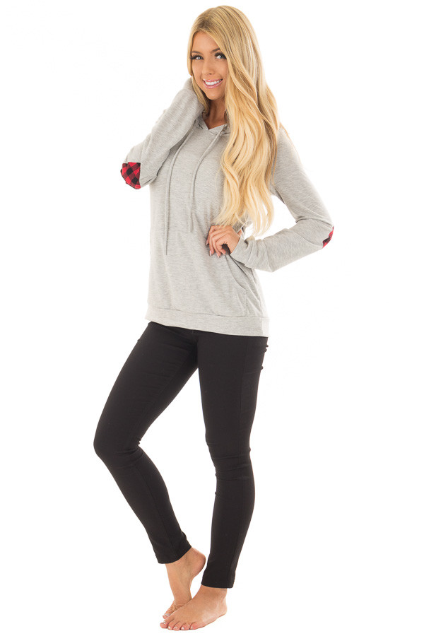 Heather Grey Hoodie with Red Plaid Heart Elbow Patches front full body