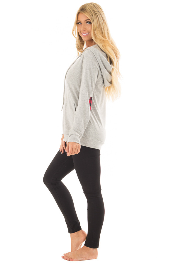 Heather Grey Hoodie with Red Plaid Heart Elbow Patches side full body