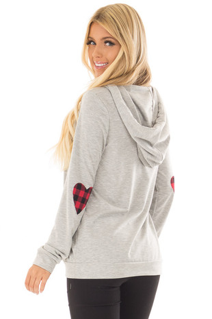 Heather Grey Hoodie with Red Plaid Heart Elbow Patches back side close up