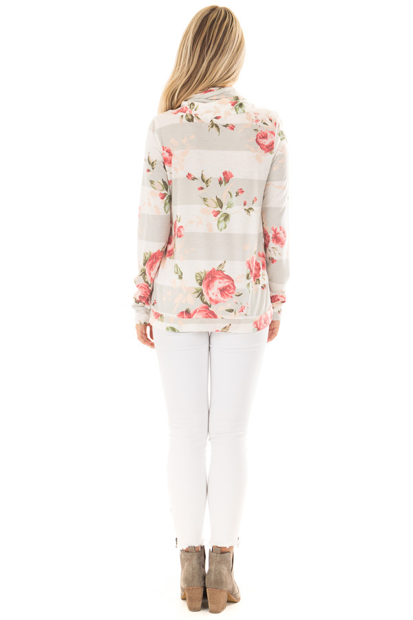 Heather Grey Cowl Neck Top with Floral Contrast back full body