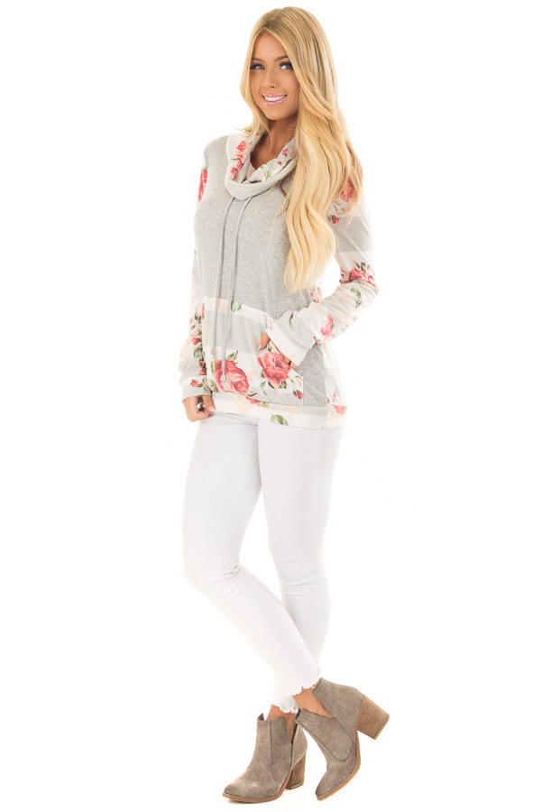 Heather Grey Cowl Neck Top with Floral Contrast front full body