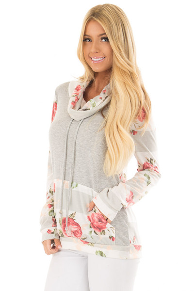Heather Grey Cowl Neck Top with Floral Contrast front close up