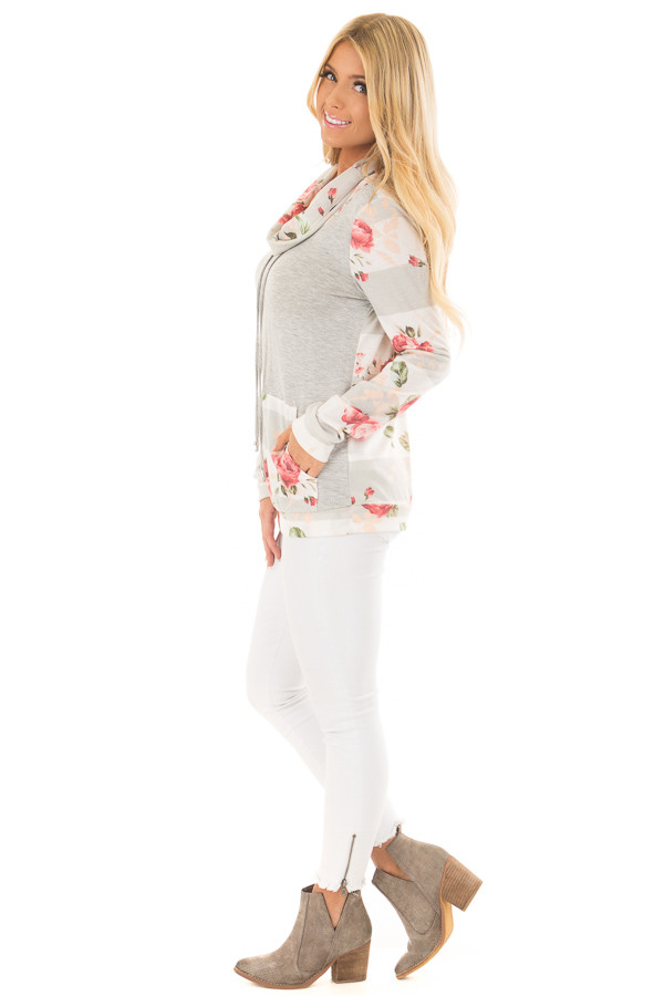 Heather Grey Cowl Neck Top with Floral Contrast side full body