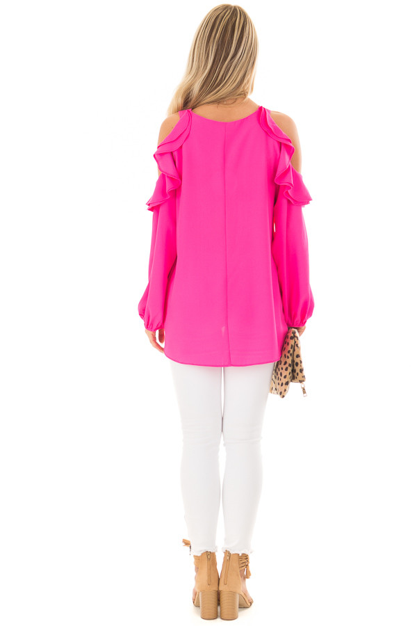 Hot Pink Cold Shoulder Top with Ruffle Detail back full body