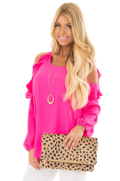Hot Pink Cold Shoulder Top with Ruffle Detail front close up