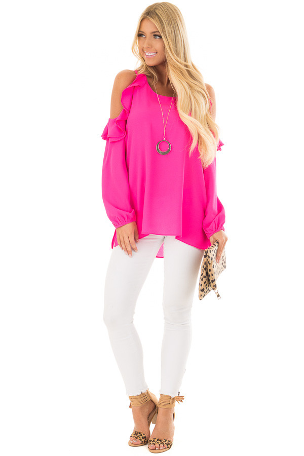 Hot Pink Cold Shoulder Top with Ruffle Detail front full body
