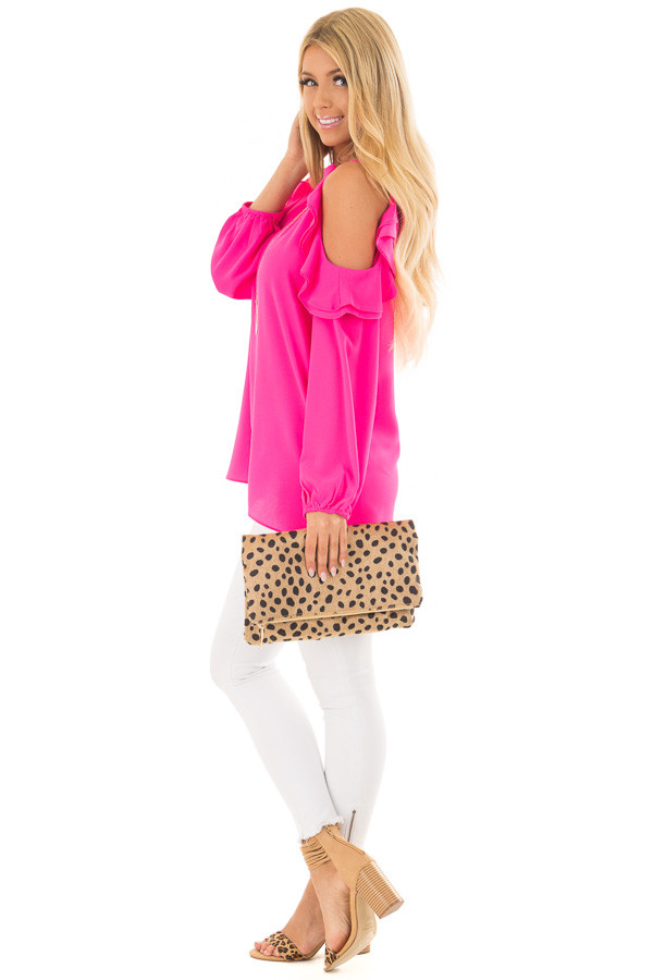 Hot Pink Cold Shoulder Top with Ruffle Detail side full body