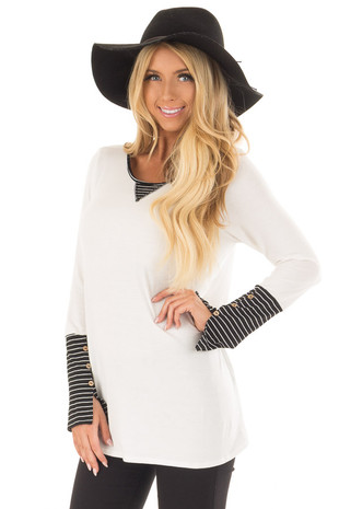 Ivory Long Sleeve Top with Black Stripe Contrast front close up