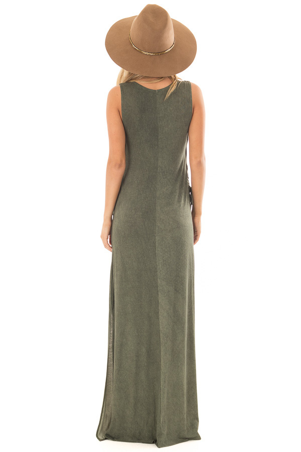 Olive Mineral Wash Maxi Dress with Lace Up Sides back full body