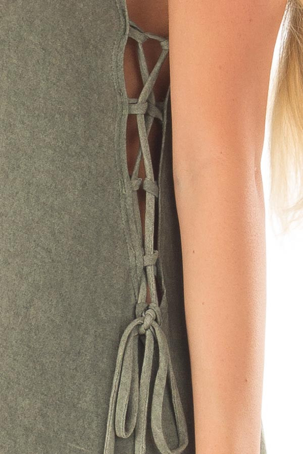 Olive Mineral Wash Maxi Dress with Lace Up Sides detail