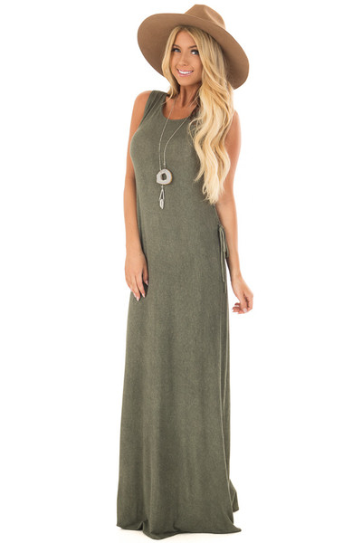 Olive Mineral Wash Maxi Dress with Lace Up Sides front full body