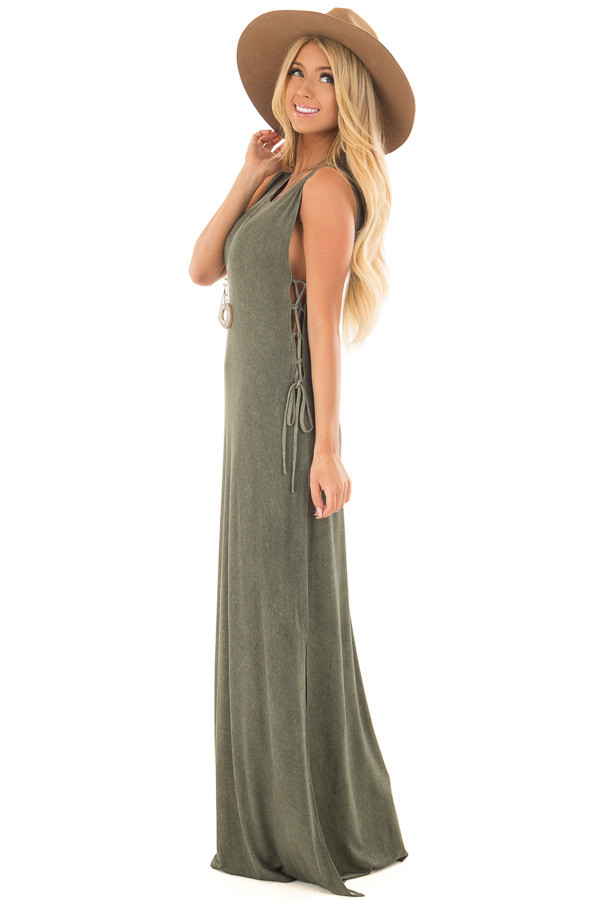 Olive Mineral Wash Maxi Dress with Lace Up Sides side full body