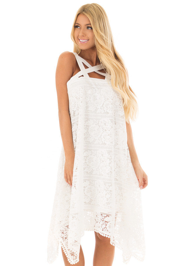 Off White Lace Criss Cross Dress with Pom Pom Trim front close up