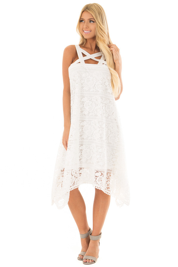 Off White Lace Criss Cross Dress with Pom Pom Trim front full body