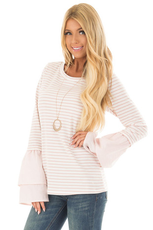 Off White and Blush Striped Top with Contrast Bell Sleeves front close up
