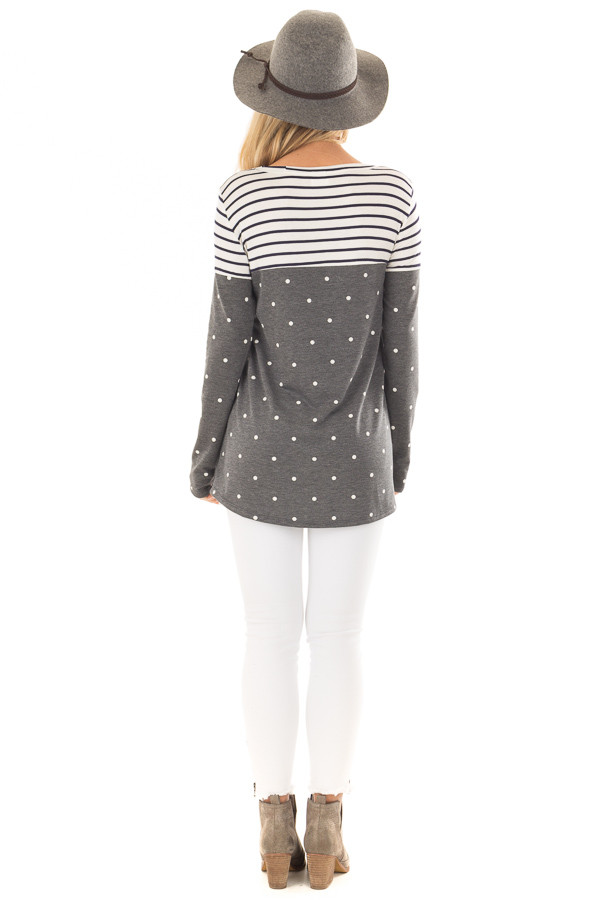 Charcoal Polka Dot Top with Stripe Contrast and Front Pocket back full body