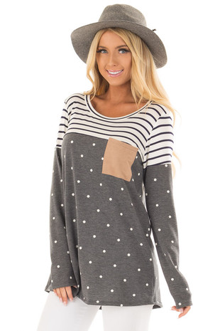 Charcoal Polka Dot Top with Stripe Contrast and Front Pocket front close up