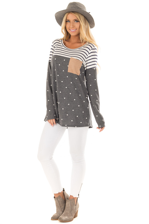 Charcoal Polka Dot Top with Stripe Contrast and Front Pocket front full body