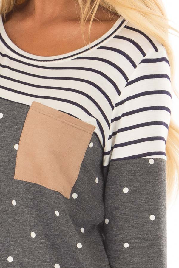 Charcoal Polka Dot Top with Stripe Contrast and Front Pocket detail