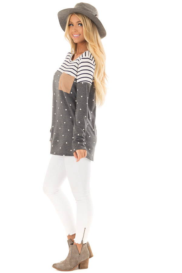 Charcoal Polka Dot Top with Stripe Contrast and Front Pocket side full body