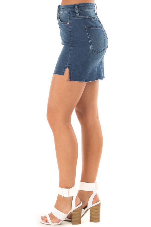 Medium Wash Denim Skirt side view