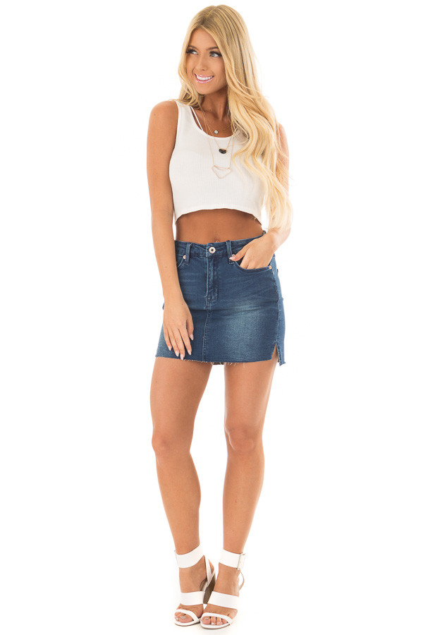 Medium Wash Denim Skirt front full body