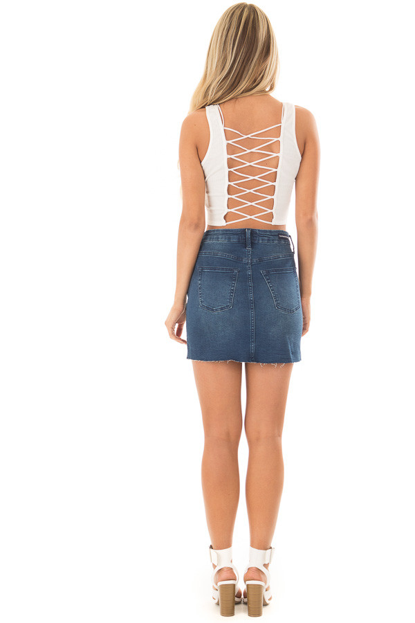 Off White Cropped Tank Top with Open Back Detail back full body