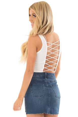 Off White Cropped Tank Top with Open Back Detail back side close up