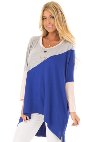 Royal Blue Color Block Oversized Tunic front close up