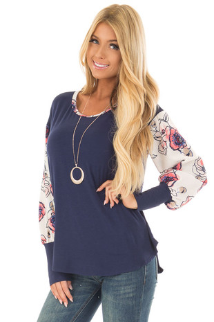 Navy Top with Floral Print Contrast Sleeves and Back front close up