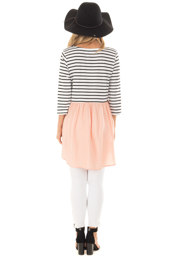 Black and Ivory Striped Tunic with Peach Contrast back full body