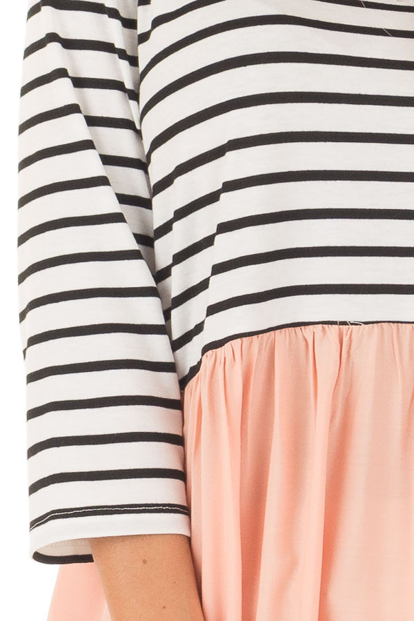 Black and Ivory Striped Tunic with Peach Contrast detail