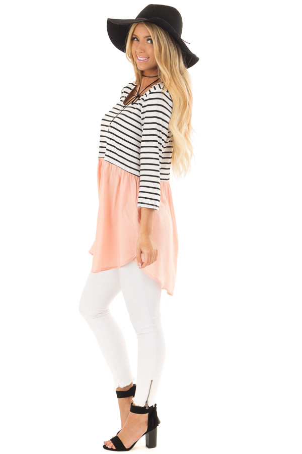 Black and Ivory Striped Tunic with Peach Contrast side full body