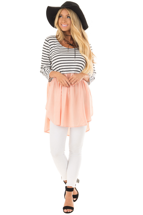 Black and Ivory Striped Tunic with Peach Contrast front full body