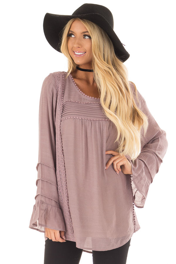 Dusty Lilac Bell Sleeve Top with Lace Detail front close up