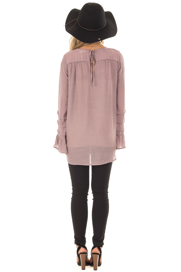 Dusty Lilac Bell Sleeve Top with Lace Detail back full body