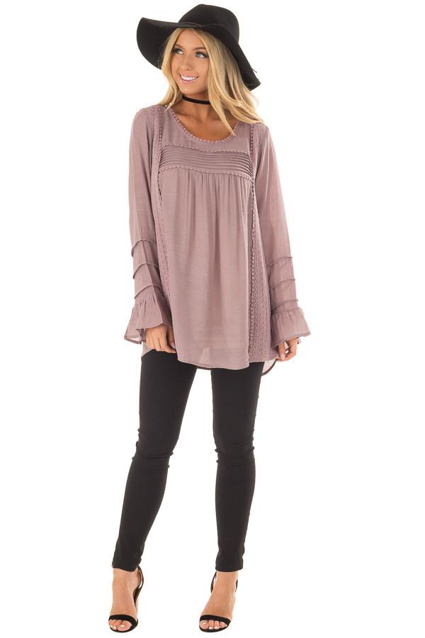 Dusty Lilac Bell Sleeve Top with Lace Detail front full body