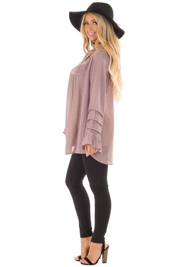 Dusty Lilac Bell Sleeve Top with Lace Detail side full body