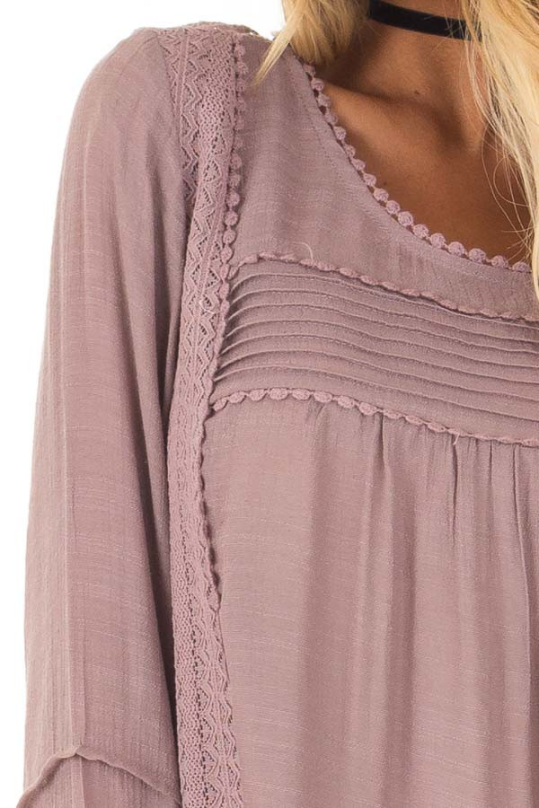 Dusty Lilac Bell Sleeve Top with Lace Detail detail