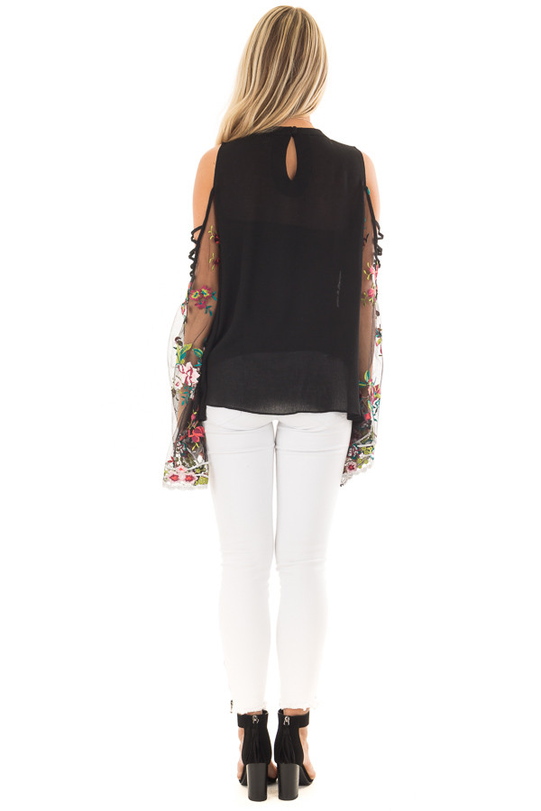 Black High Neck Top with Sheer Floral Print Bell Sleeves back full body
