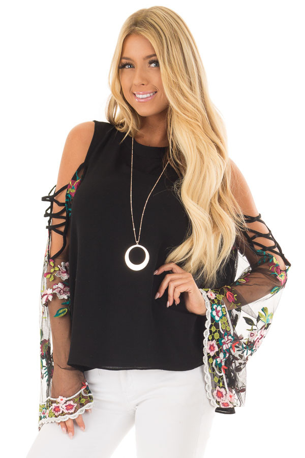 Black High Neck Top with Sheer Floral Print Bell Sleeves front close up