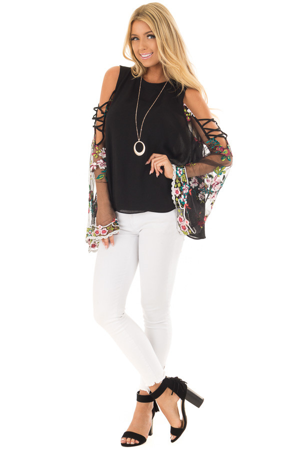 Black High Neck Top with Sheer Floral Print Bell Sleeves front full body