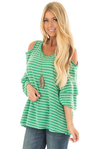 Kelly Green Striped Cold Shoulder Top front close up