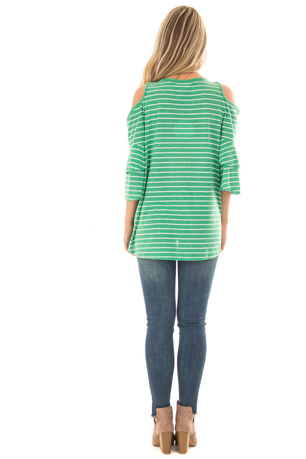 Kelly Green Striped Cold Shoulder Top back full body